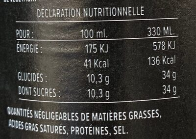Jura Cola - Valori nutrizionali - fr