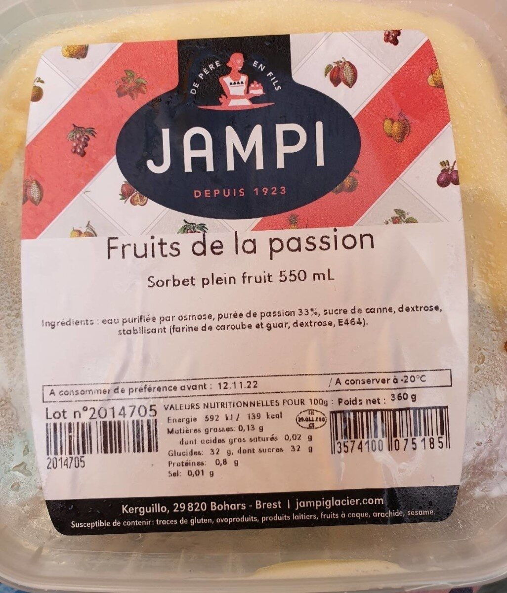 Glace Passion Jampi 550ML - Nutrition facts - fr