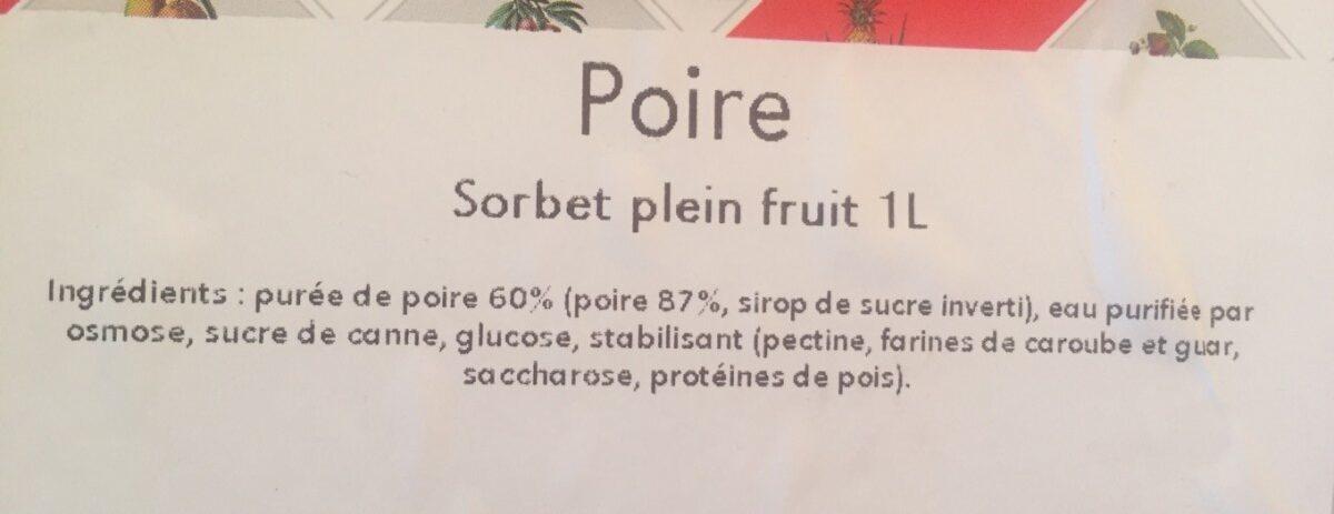 Sorbet poire - Ingrédients - fr