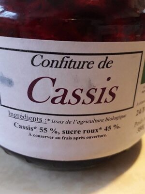 Confiture de cassis - Ingrediënten