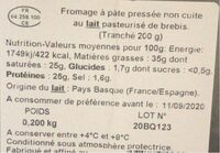 Fromage Pur Brebis Agour - Nutrition facts - fr