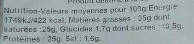 Pur brebis - Informations nutritionnelles
