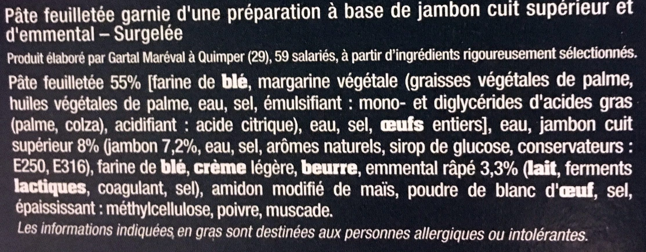 4 Feuilletés Jambon Emmental (+ 1) - Ingrédients - fr