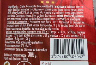 Escargots de Bourgogne préparés belle grosseur - Voedingswaarden