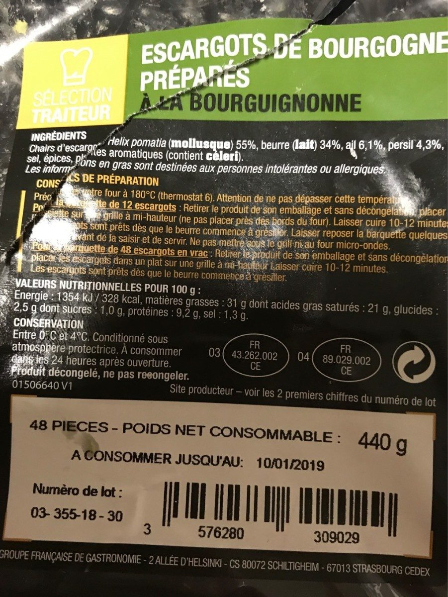 Escargots de Bourgogne préparés à la Bourguignonne - Product - fr