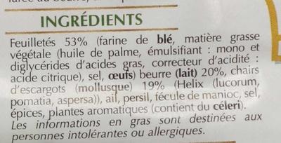 16 mini feuilletés escargots à la bourguignonne - Ingrediënten - fr