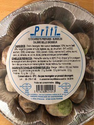 12 escargots préparés surgelés - Voedingswaarden - fr