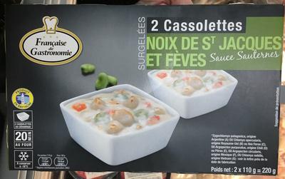 2 cassolettes surgelées Noix de St Jacques et Fèves sauce Sauternes - Produit