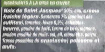 2 cassolettes surgelées Noix de St Jacques et Fèves sauce Sauternes - Ingrédients