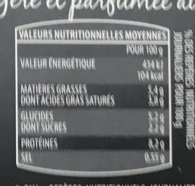 2 cassolettes surgelées Noix de St Jacques et Fèves sauce Sauternes - Informations nutritionnelles