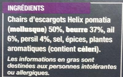 12 escargots de Bourgogne à la bourguignonne surgelés - Ingrediënten - fr