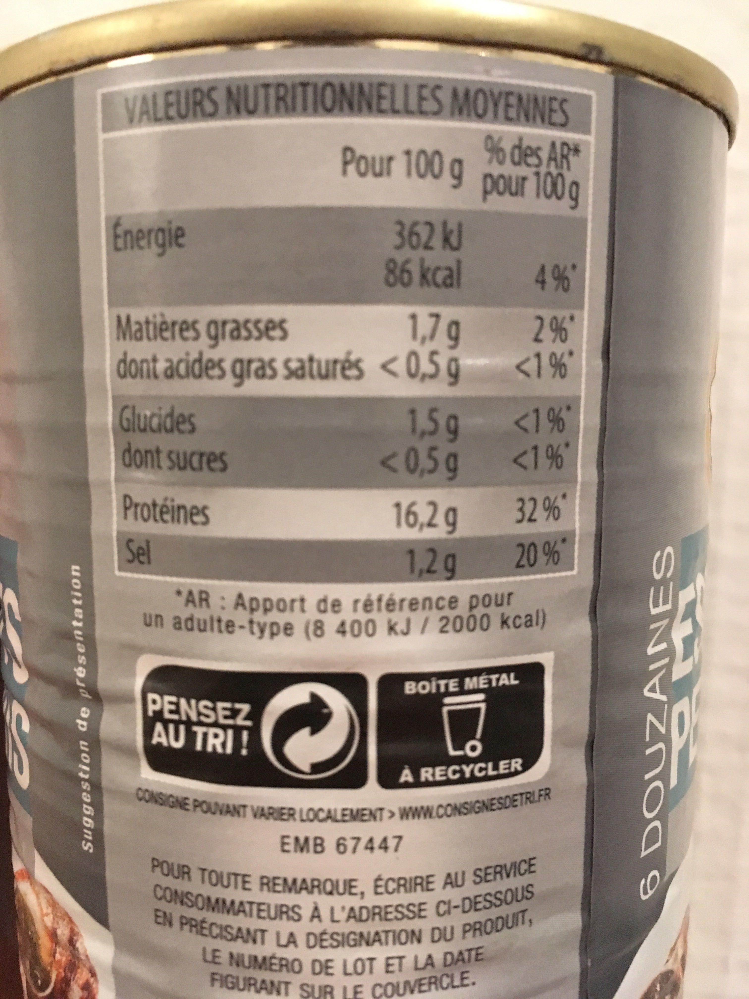 Escargots Petits-Gris - Informations nutritionnelles - fr