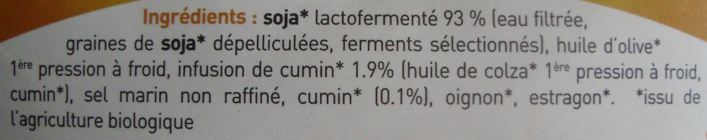 Tartine & moi comme un fromage Cumin Bio (12,9 % MG) - Ingrédients