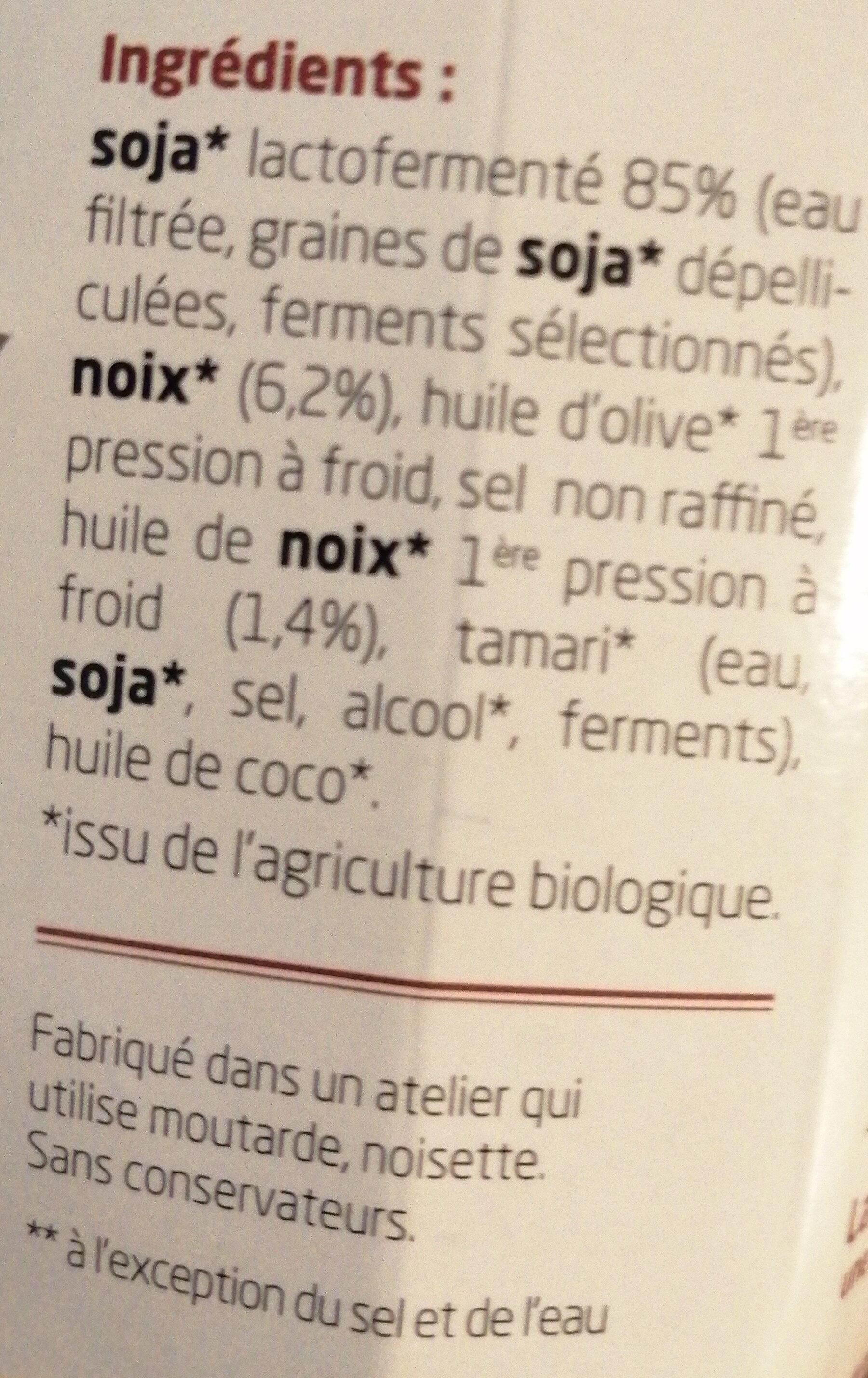 Sojami à tartiner Noix - Ingrediënten