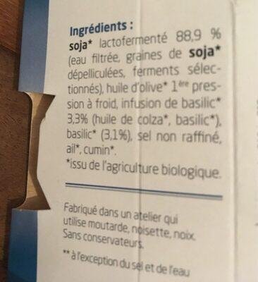 Sojami À Tartiner Basilic - Ingrediënten - fr