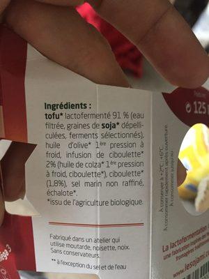Sojami à tartiner Ciboulette-Echalote - Ingrediënten - fr