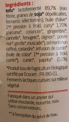 Sojami à tartiner Curry Paprika - Ingrediënten - fr