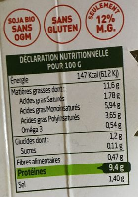 Sojami à tartiner Ail & Fines Herbes - Voedingswaarden - fr