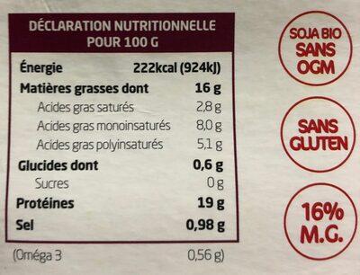 Tofu lactofermenté olives - Voedingswaarden - fr