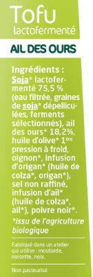 Tofu Lactofermenté Ail Des Ours - Ingrediënten - fr