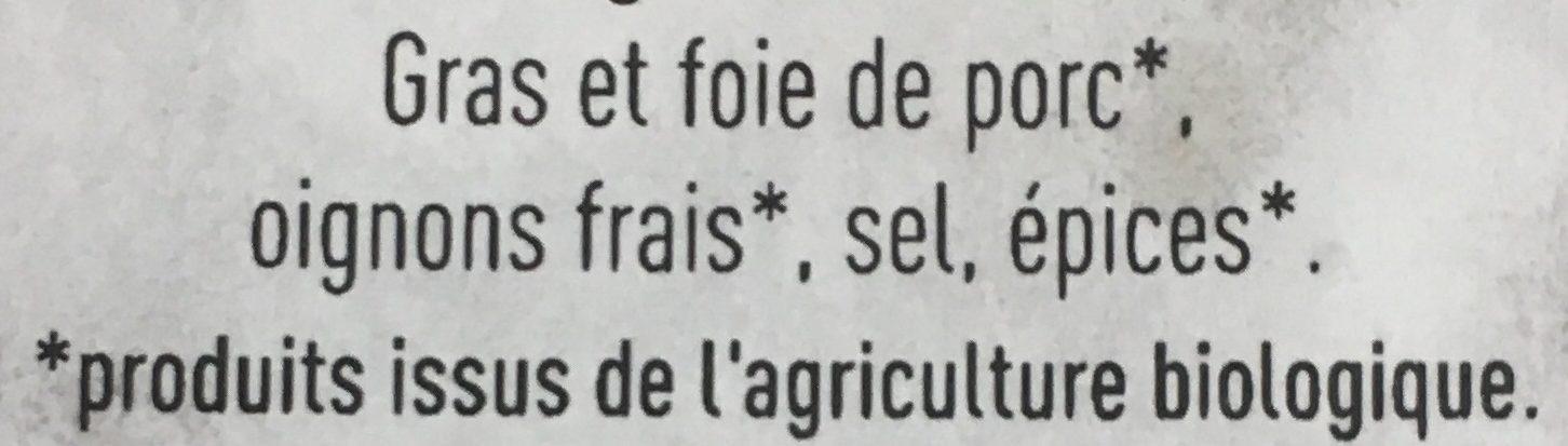 Pâté de Foie Bio Pur Porc - Ingredients - fr