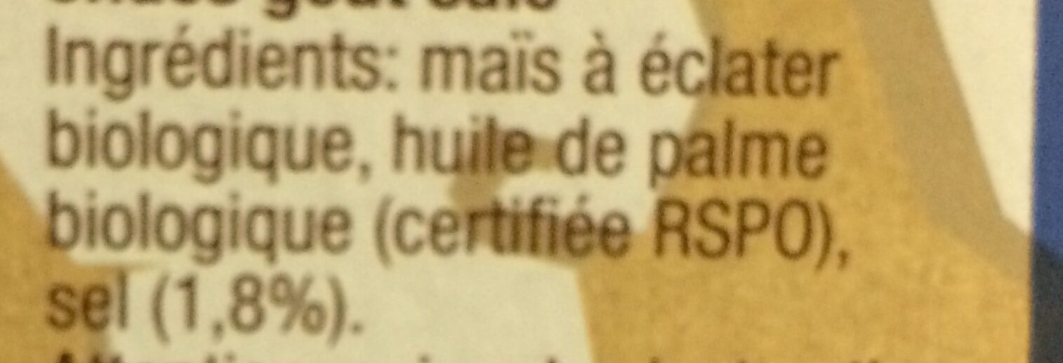 Pop Corn - Ingredienti - fr