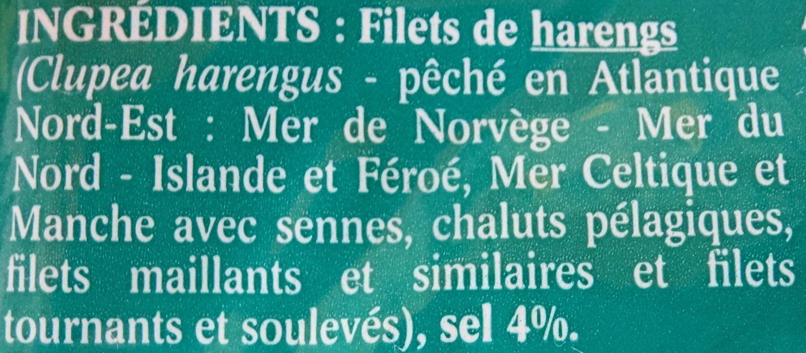 Filets de harengs, doux, fumés au bois de hêtre - Ingrédients - fr