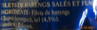 Filets de Harengs au naturel, fumé au bois de hêtre - Ingredienti - fr