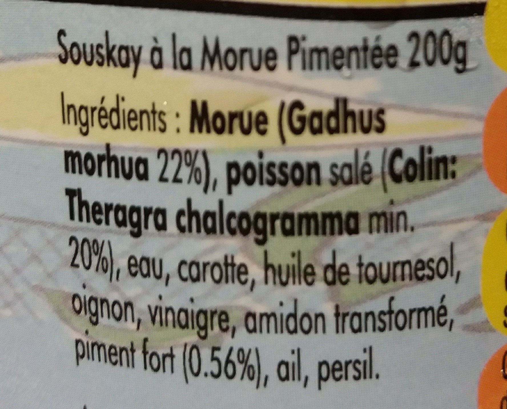 Souskay De Morue Pimentée Délices Locales - Ingrédients - fr