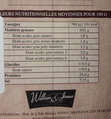 Saumon fume William & James Ecosse 8 tranches - Nutrition facts - fr