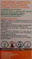 spiruline - Nutrition facts - fr