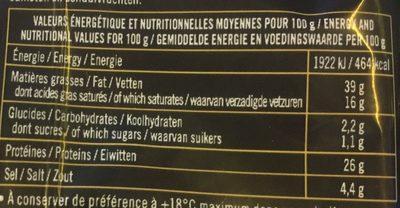 Mini saucisson sec pur porc - Nutrition facts