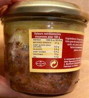 Pâté de canard au poivre vert - Informations nutritionnelles - fr