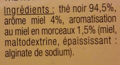 The Noir Gout Miel - Ingrédients
