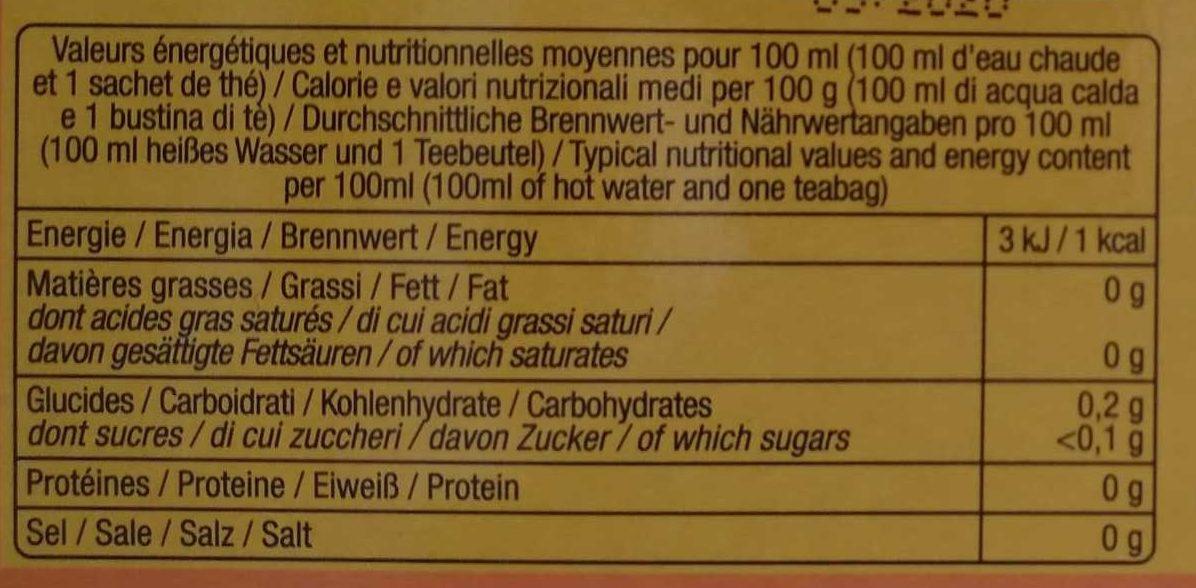 The Noir Gout Miel - Informations nutritionnelles