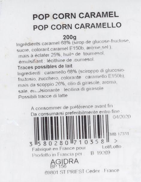 Pop Corn Caramel - Ingredienti - fr