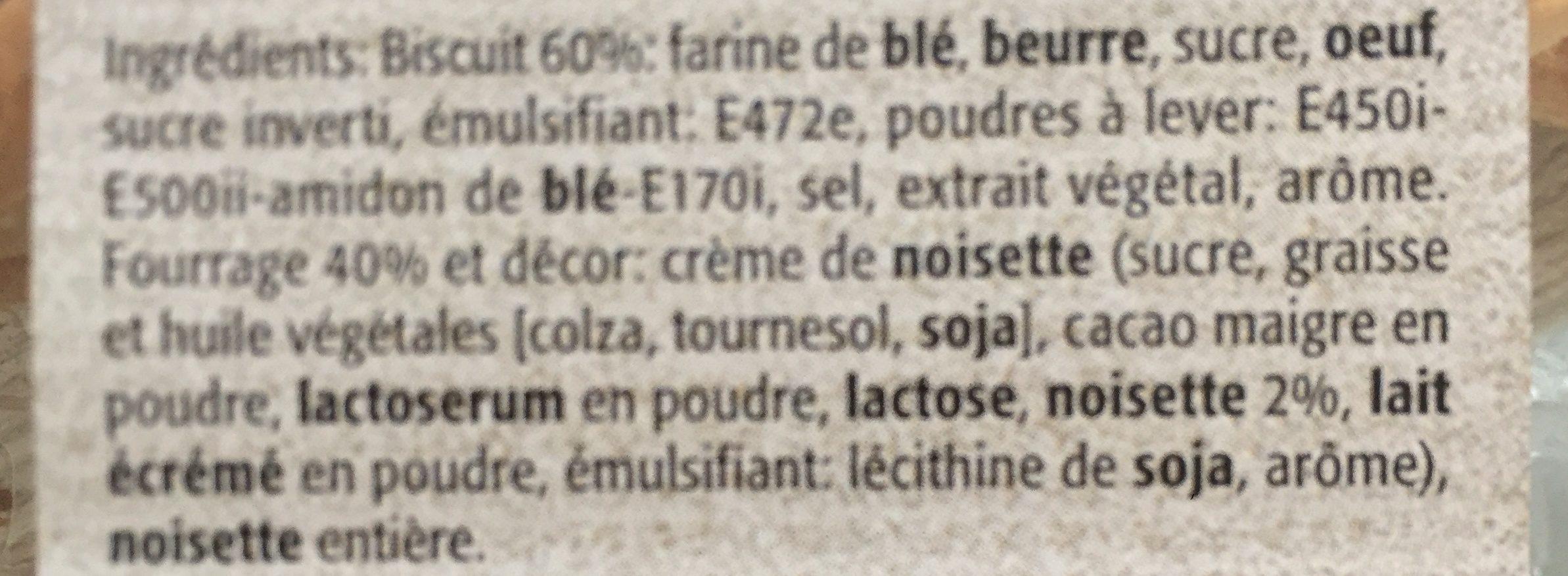 Biscuits Fourrés à la Noisette - Ingrédients - fr
