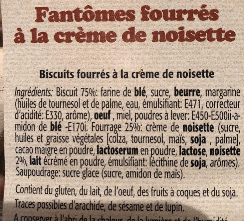 Fantomes fourrés à la crème de noisette - Ingrédients - fr