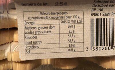 Fantomes fourrés à la crème de noisette - Informations nutritionnelles - fr