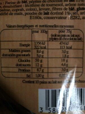 10 Pains au lait aux pépites de chocolat au lait - Informations nutritionnelles - fr