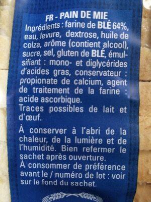 Pain de Mie Petites tranches - Ingrédients - fr