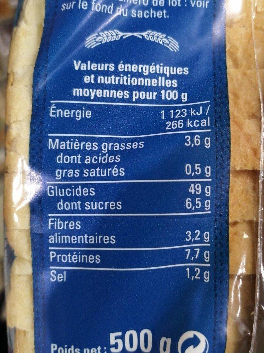 Pain de Mie Petites tranches - Informations nutritionnelles - fr