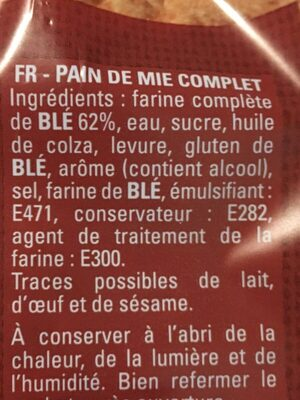 Pain de mie complet - Ingredients - fr