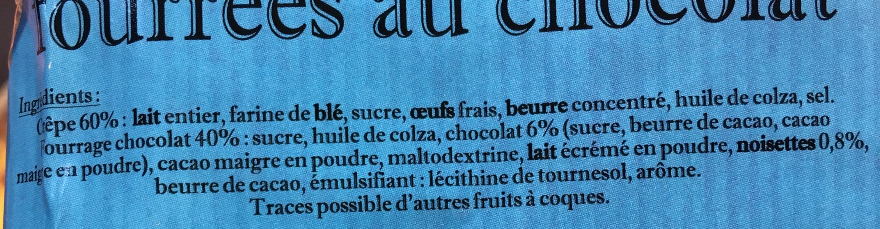 Crêpes fourées chocolat - Ingredients