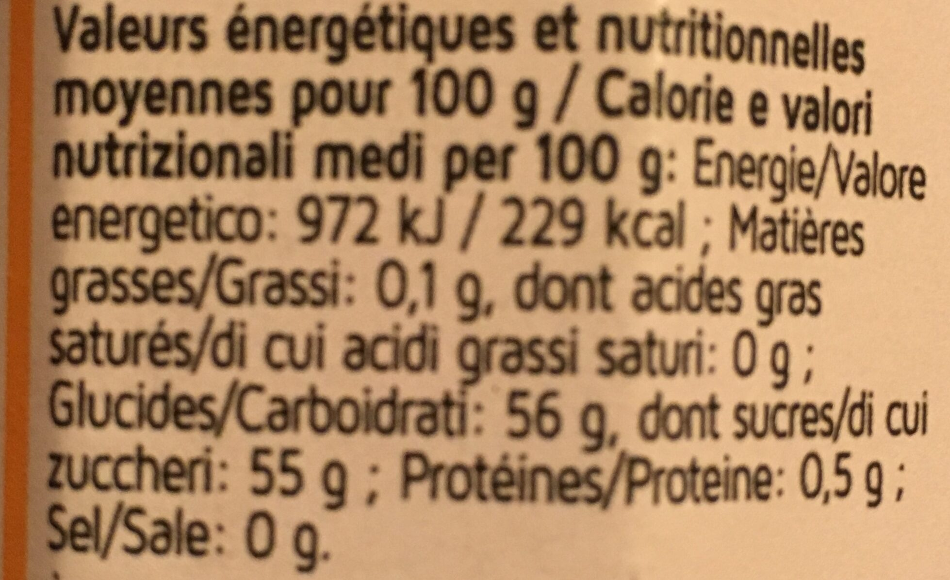 Confitures d'abricots - Informations nutritionnelles - fr