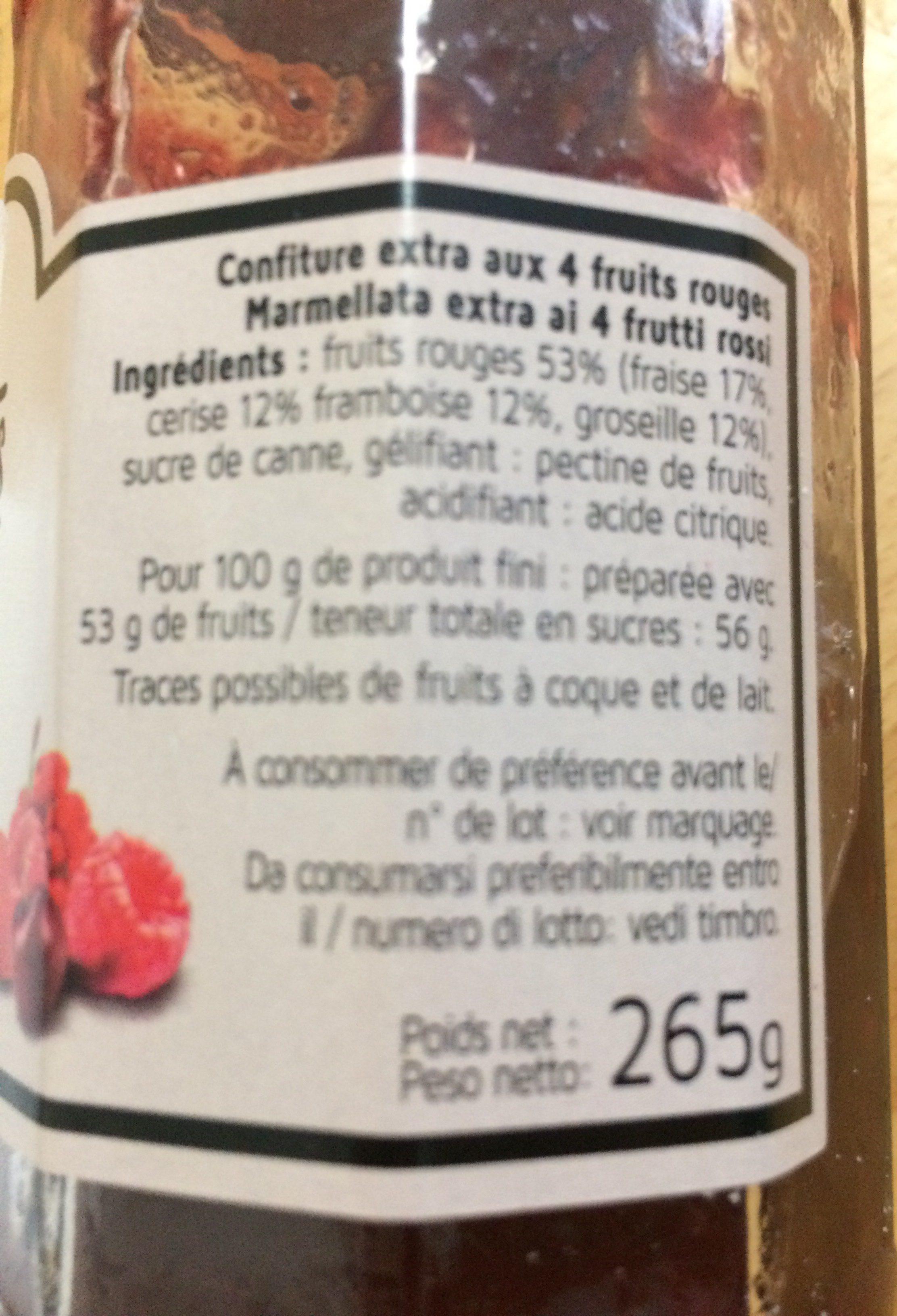 Confiture aux 4 fruits rouges - Ingrédients