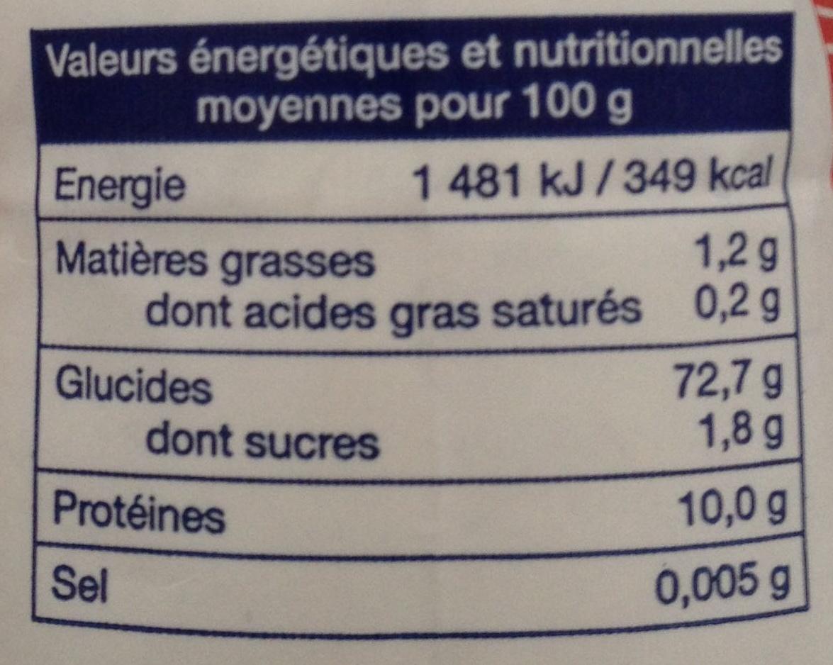 Farine de blé pour cuisine et pâtisserie - Valori nutrizionali - fr