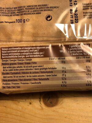 Galette de riz / chocolat noir - Nutrition facts