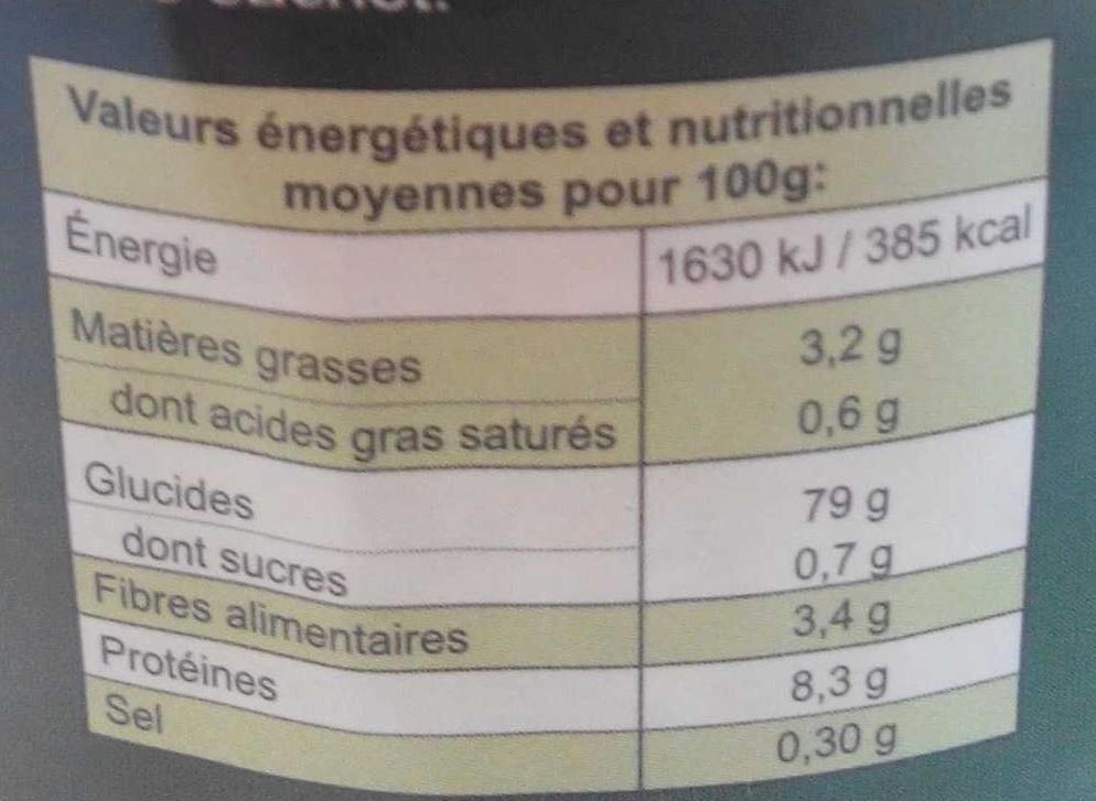 Galettes de riz - Voedigswaarden