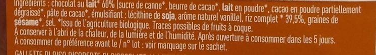 Galettes de riz nappées de chocolat au lait - Ingrediënten - fr